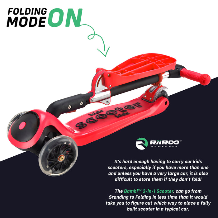 bambi three in one scooter adjustable folded red riiroo 3 kids red