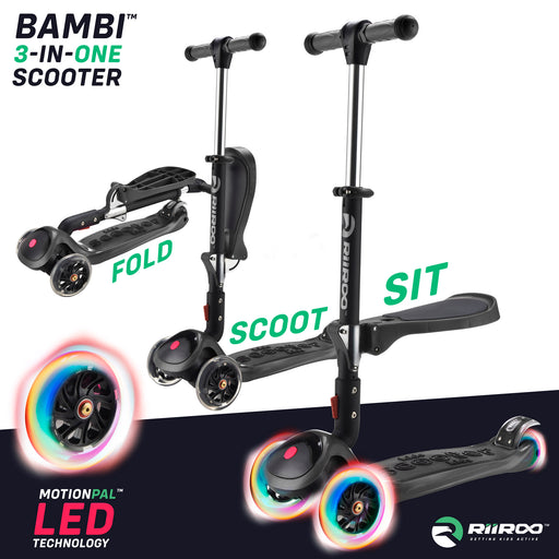 bambi three in one scooter adjustable main black Black riiroo 3 kids black
