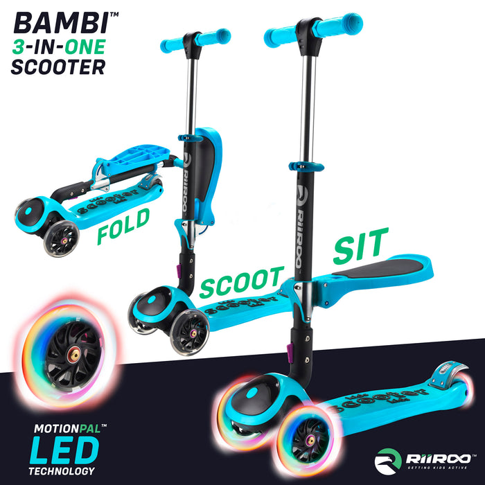 bambi three in one scooter adjustable main blue Blue riiroo 3 kids blue