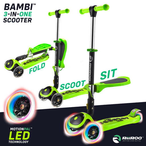 bambi three in one scooter adjustable main green Green riiroo 3 kids green