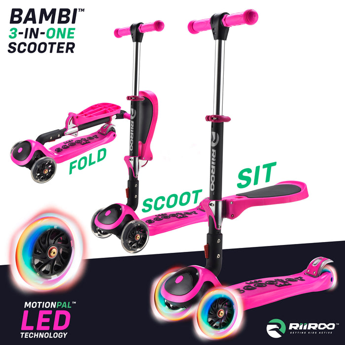 bambi three in one scooter adjustable main pink riiroo 3 kids pink