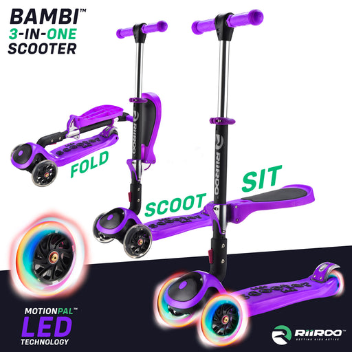 bambi three in one scooter adjustable main purple riiroo 3 kids purple