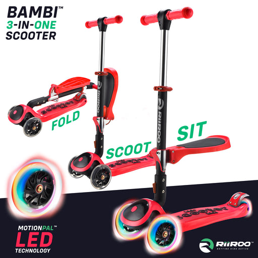 bambi three in one scooter adjustable main red Red riiroo 3 kids red