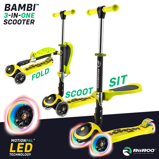 bambi three in one scooter adjustable main yellow Yellow riiroo 3 kids yellow