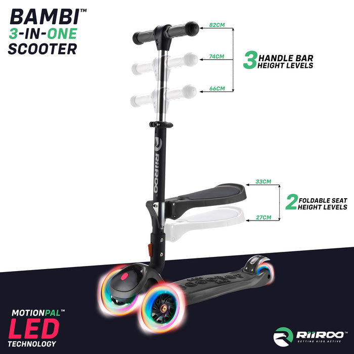 bambi three in one scooter adjustable seat handle bar black riiroo 3 kids black