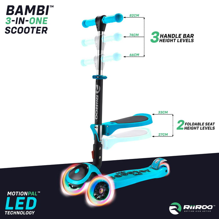 bambi three in one scooter adjustable seat handle bar blue riiroo 3 kids blue