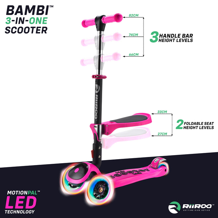 bambi three in one scooter adjustable seat handle bar pink Pink riiroo 3 kids pink