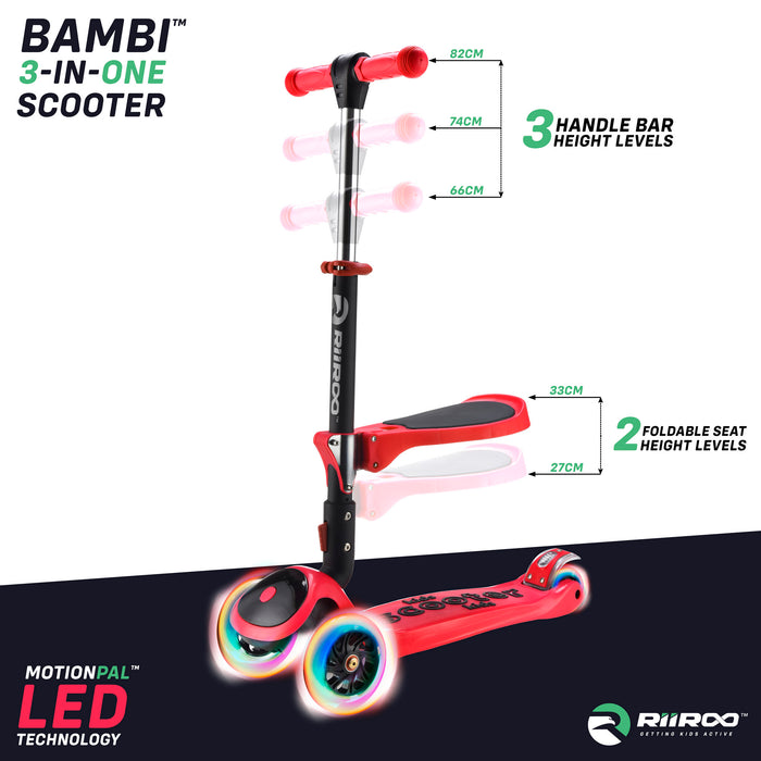 bambi three in one scooter adjustable seat handle bar red riiroo 3 kids red