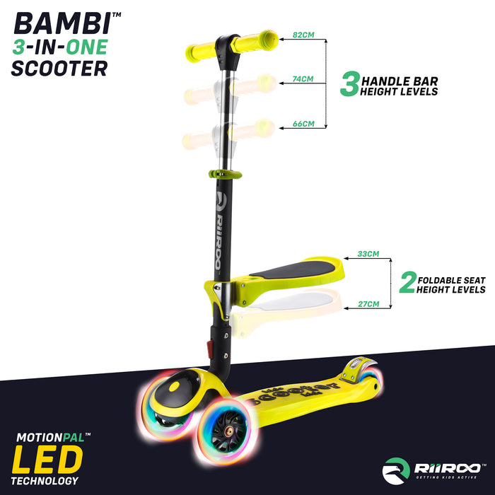 bambi three in one scooter adjustable seat handle bar yellow riiroo 3 kids yellow