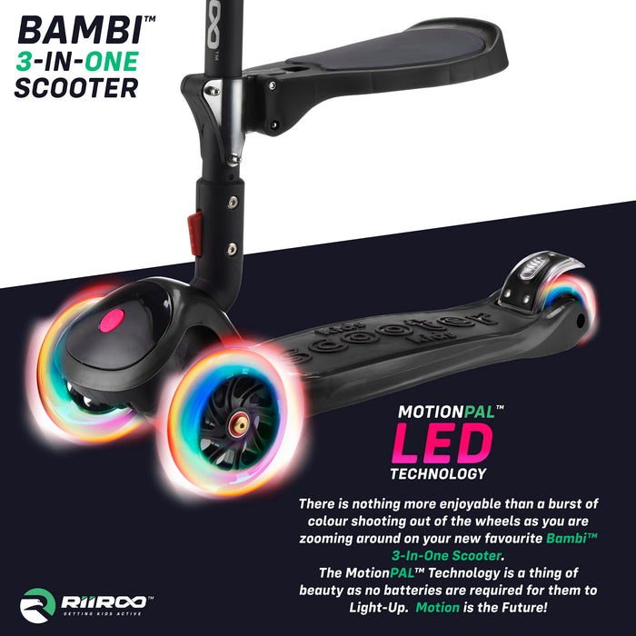 bambi three in one scooter led lights black1 riiroo 3 kids black