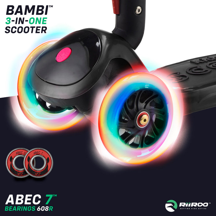 bambi three in one scooter led lights black riiroo 3 kids black