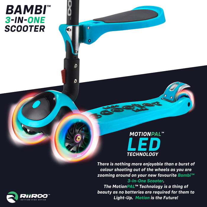 bambi three in one scooter led lights blue1 riiroo 3 kids blue