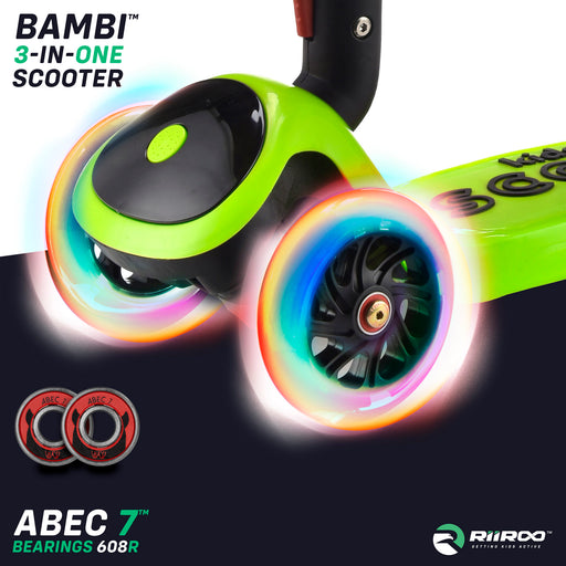 bambi three in one scooter led lights green riiroo 3 kids green