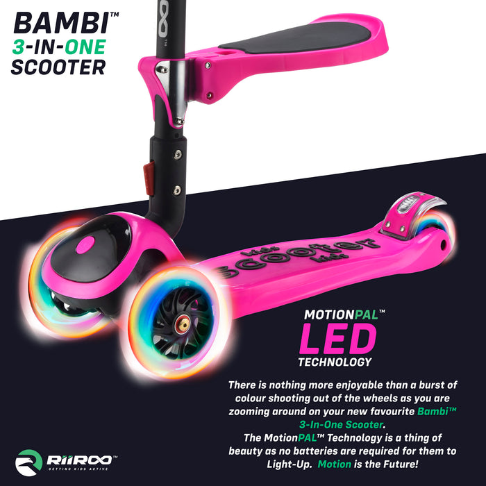 bambi three in one scooter led lights pink1 riiroo 3 kids pink