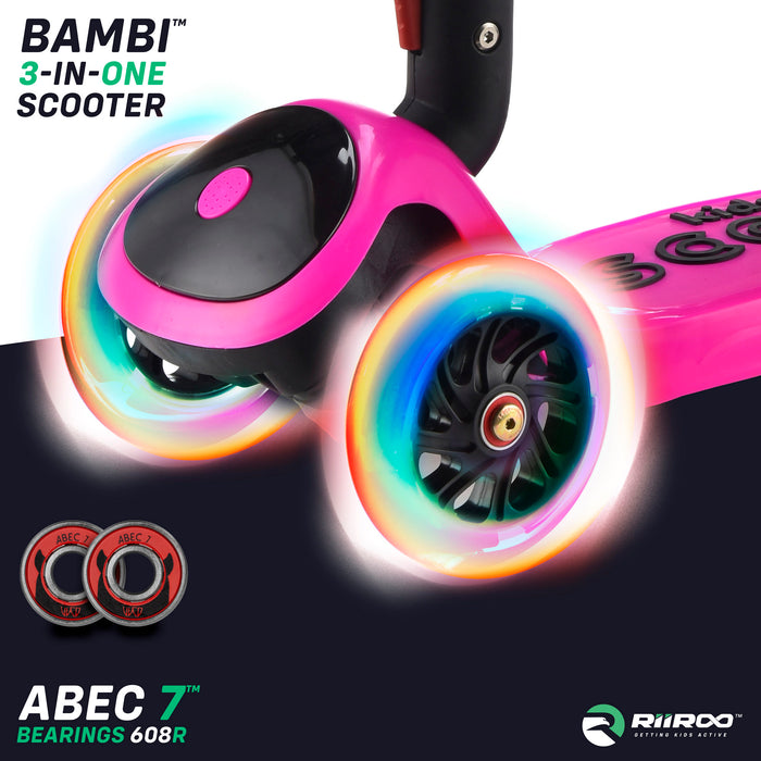 bambi three in one scooter led lights pink riiroo 3 kids pink