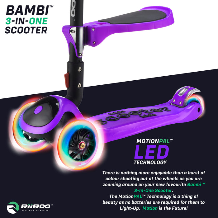 bambi three in one scooter led lights purple1 riiroo 3 kids purple