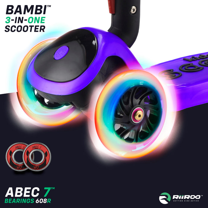 bambi three in one scooter led lights purple riiroo 3 kids purple