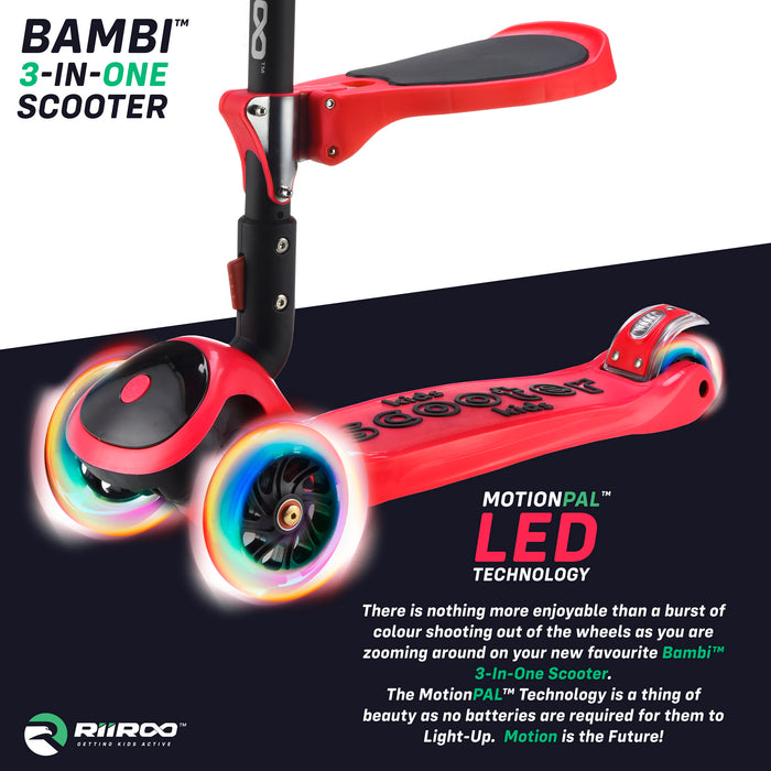 bambi three in one scooter led lights red1 riiroo 3 kids red