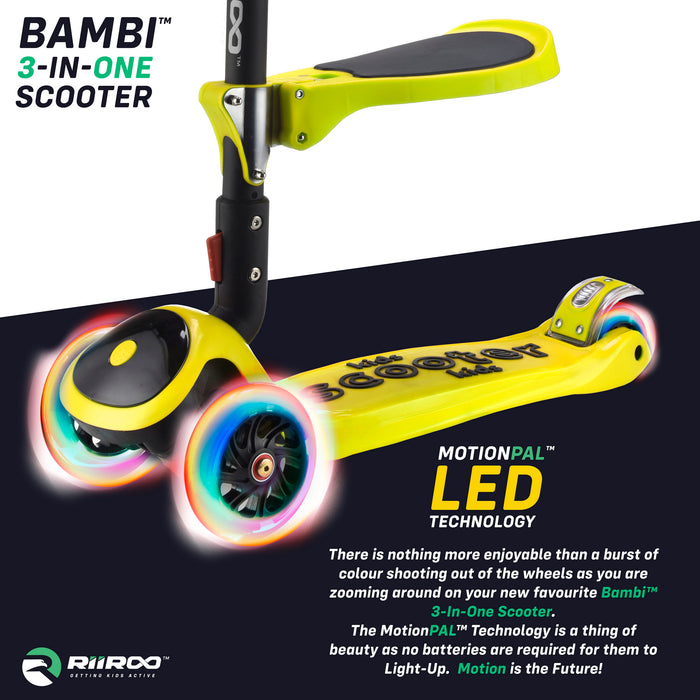bambi three in one scooter led lights yellow1 riiroo 3 kids yellow