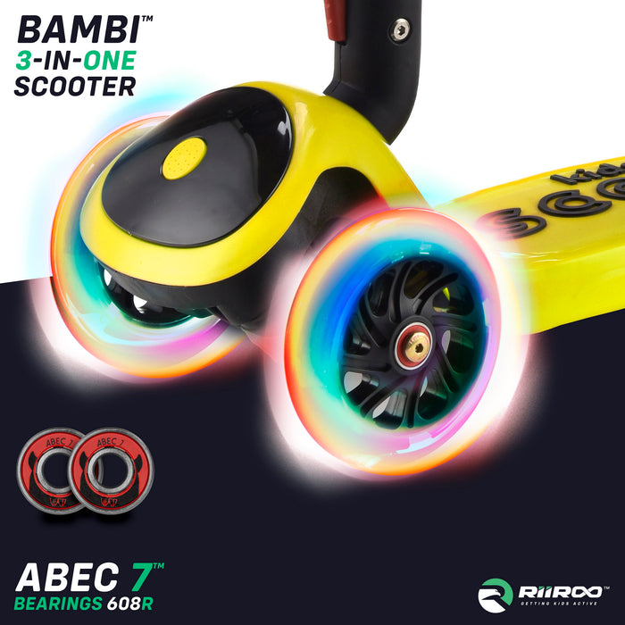 bambi three in one scooter led lights yellow riiroo 3 kids yellow