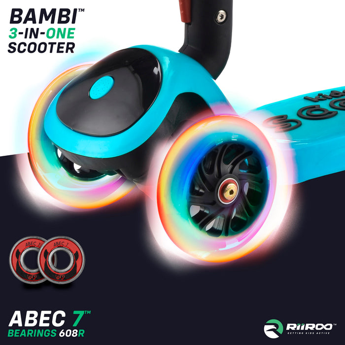bambi three in one scooter led lights blue riiroo 3 kids blue