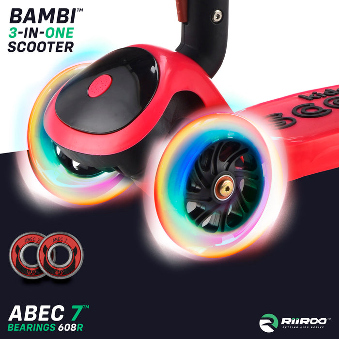 bambi three in one scooter led lights red riiroo 3 kids red