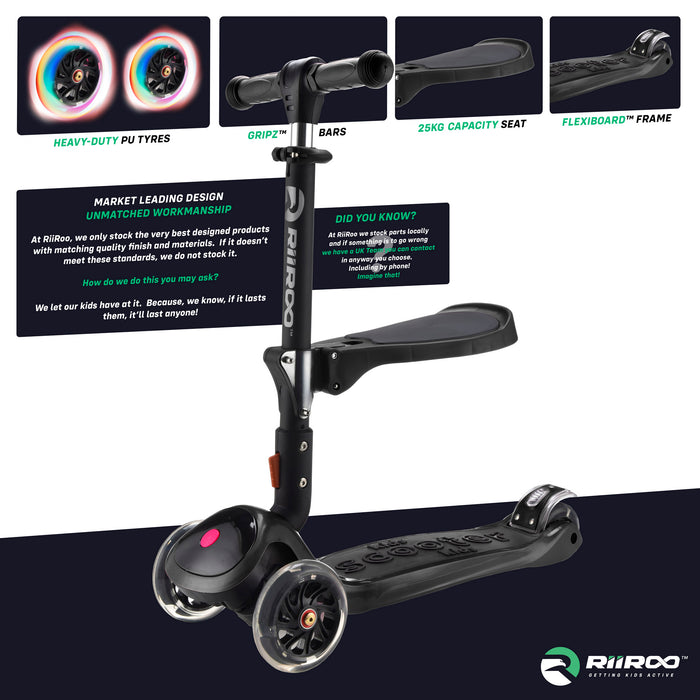 bambi three in one scooter premium materials black riiroo 3 kids black