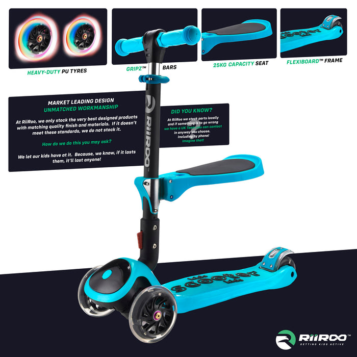 bambi three in one scooter premium materials blue riiroo 3 kids blue