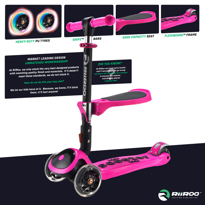 bambi three in one scooter premium materials pink riiroo 3 kids pink