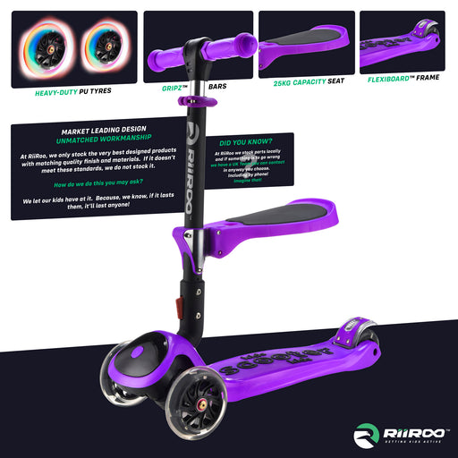 bambi three in one scooter premium materials purple riiroo 3 kids purple