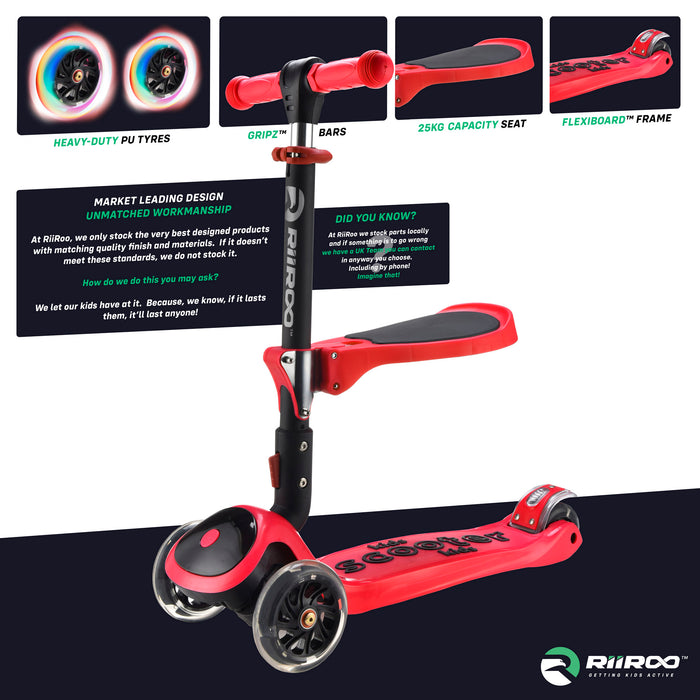 bambi three in one scooter premium materials red riiroo 3 kids red