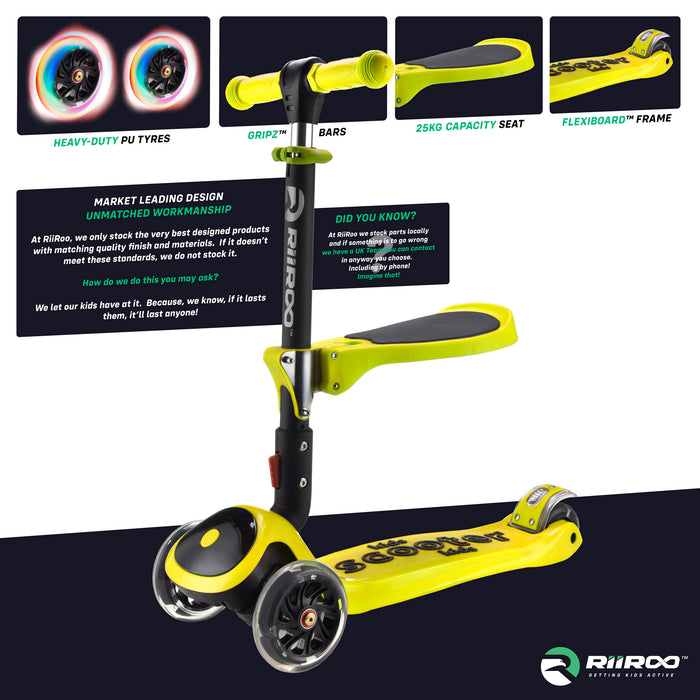 bambi three in one scooter premium materials yellow riiroo 3 kids yellow