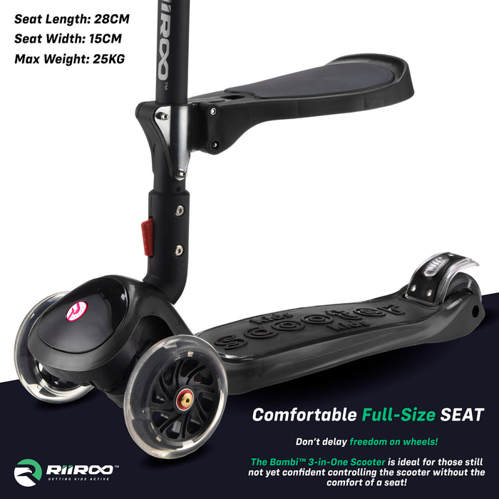 bambi three in one scooter seat black riiroo 3 kids black