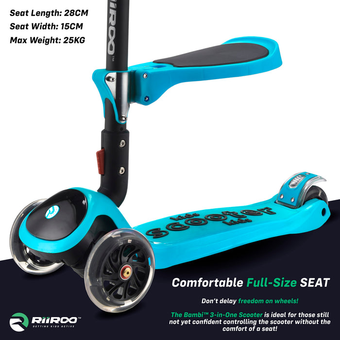 bambi three in one scooter seat blue riiroo 3 kids blue