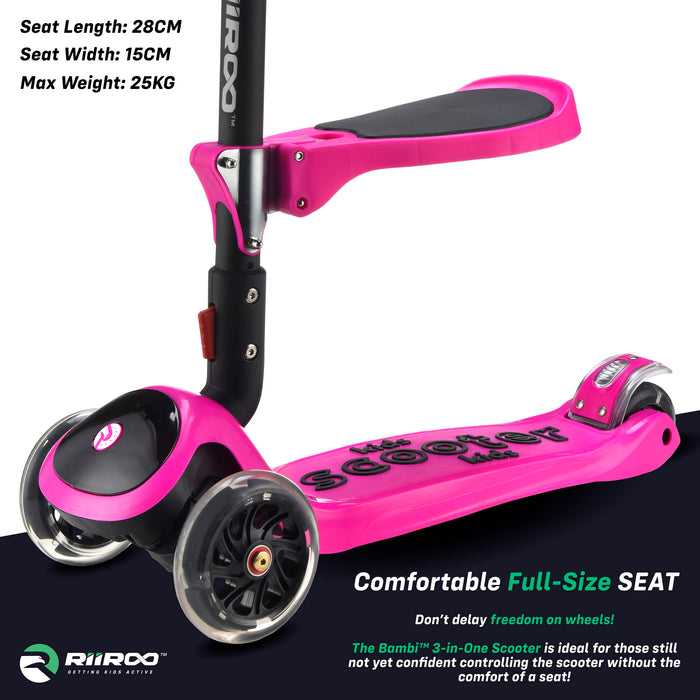 bambi three in one scooter seat pink riiroo 3 kids pink