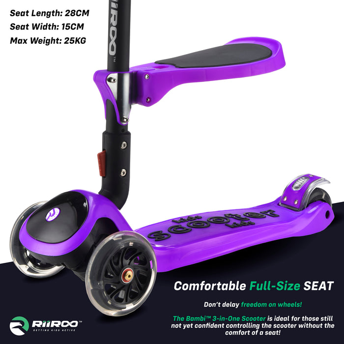 bambi three in one scooter seat purple riiroo 3 kids purple