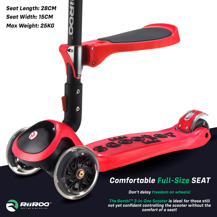 bambi three in one scooter seat red riiroo 3 kids red