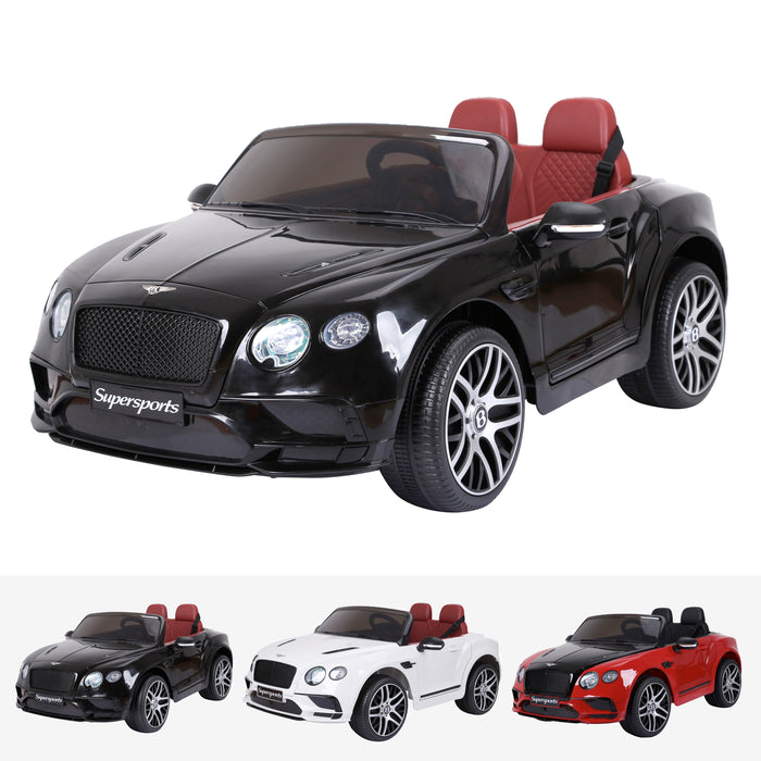 bentley continental supersport licensed 12v battery electric ride on car with remote black2 31138466398256 super sports ride on car 12v 2wd white