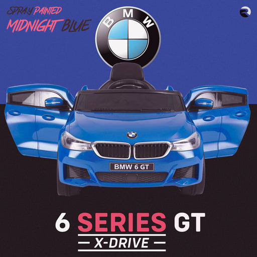 kids 12v electric bmw 6 series gt x drive 2019 battery operated kids ride on car with parental remote control front doors open spray blue m sport licensed 2wd painted blue