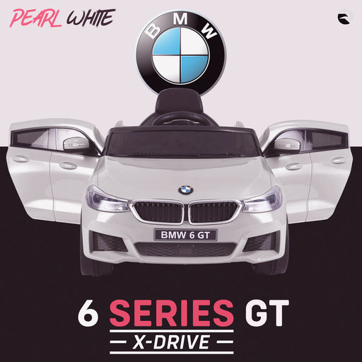 kids 12v electric bmw 6 series gt x drive 2019 battery operated kids ride on car with parental remote control front doors open white m sport licensed 2wd white