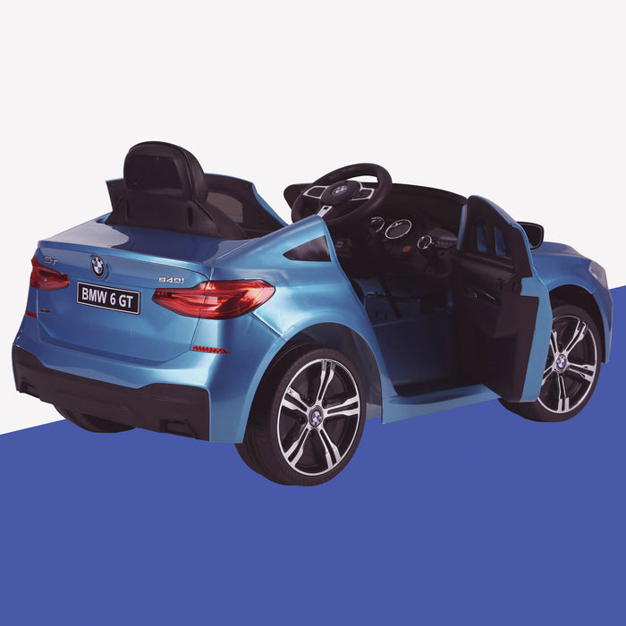 kids 12v electric bmw 6 series gt x drive 2019 battery operated kids ride on car with parental remote control rear perspective door open blue m sport licensed 2wd black