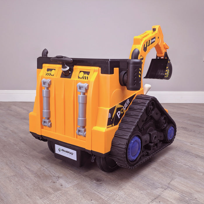 kids 12v electric battery operated digger with parental remote control fully electric controlled digger rear left view 6v