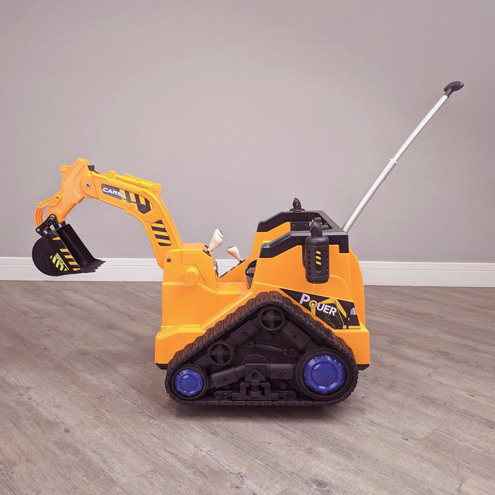 kids 12v electric battery operated digger with parental remote control fully electric controlled digger side view parental handle 6v
