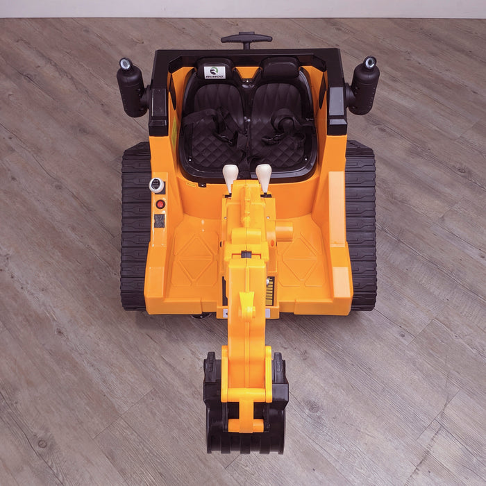 kids 12v electric battery operated digger with parental remote control fully electric controlled digger top front 6v
