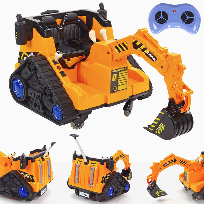 kids 12v electric battery operated digger with parental remote control main 6v