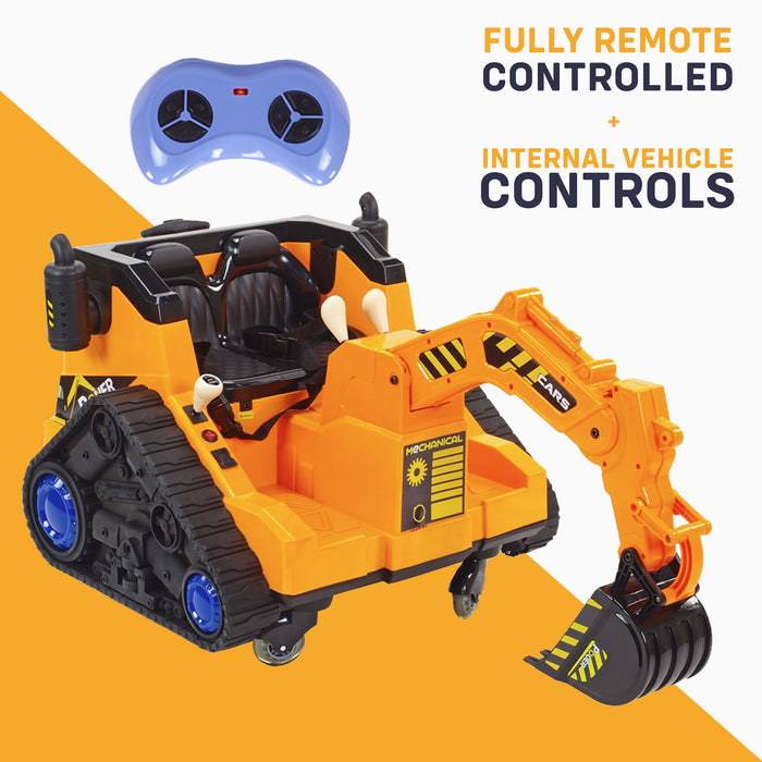 kids 12v electric battery operated digger with parental remote control remote control 6v