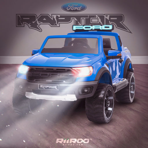 kids 12v electric ford ranger raptor f150 battery operated ride on car with parental remote control day blue wildtrak 2wd painted blue