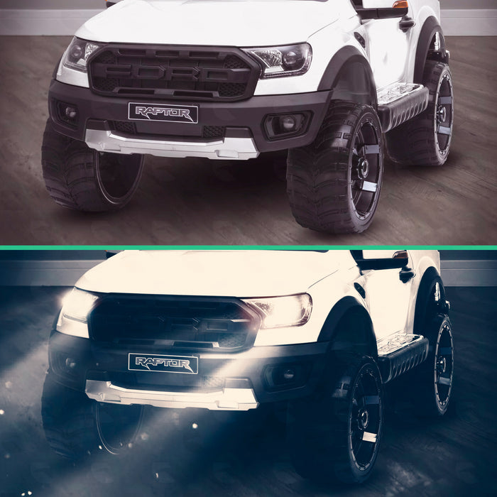 kids 12v electric ford ranger raptor f150 battery operated ride on car with parental remote control day night white wildtrak 2wd