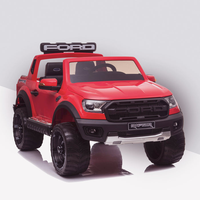 kids 12v electric ford ranger raptor f150 battery operated ride on car with parental remote control front angle doors closed red wildtrak 2wd
