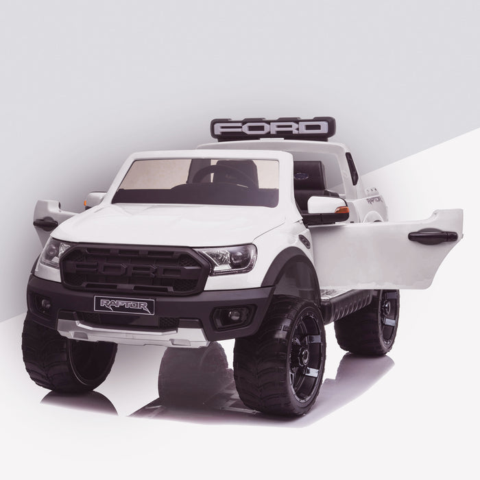kids 12v electric ford ranger raptor f150 battery operated ride on car with parental remote control front angle doors open white wildtrak 2wd